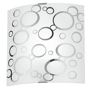 I-BUBBLE/AP - Applique Quadrata Bolle Cromate Vetro Bianco Lampada da Parete Moderna E27