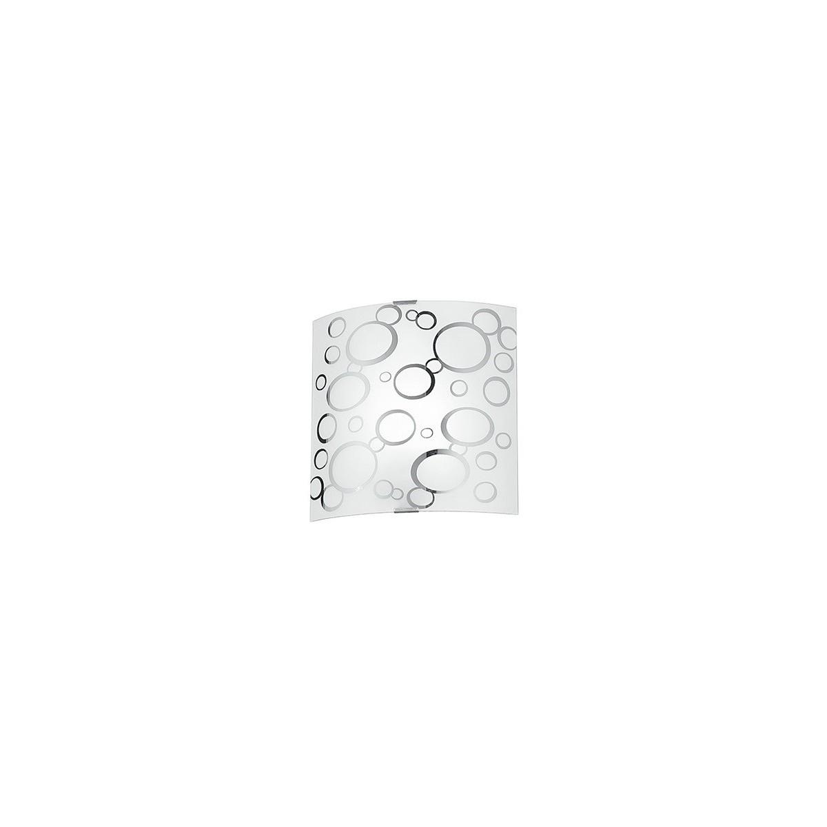 I-BUBBLE / AP - Applique Murale Carrée Bolle Chromate Verre Blanc Moderne E27
