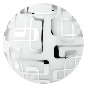 I-TEOREMA/PL30 - Plafoniera Tonda Vetro Bianco decoro Quadri Cromati Lampada Moderna E27