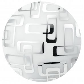 I-TEOREMA / PL40 - Plafonnier avec décoration Carrée Chromé Plafonnier en Verre Blanc E27