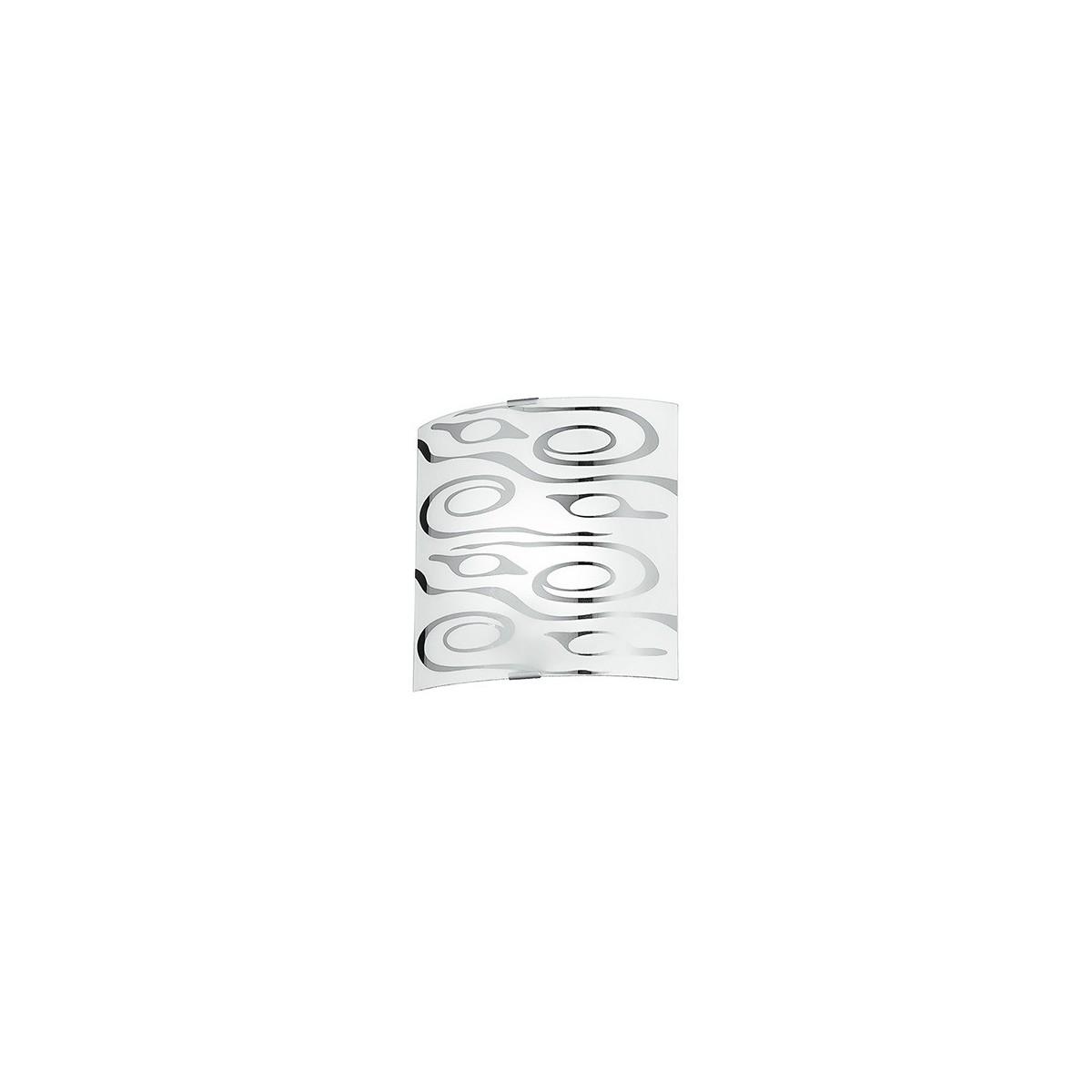 I-SOUND / AP - Applique murale carrée moderne en verre blanc, décoration abstraite en chrome, intérieur moderne E27