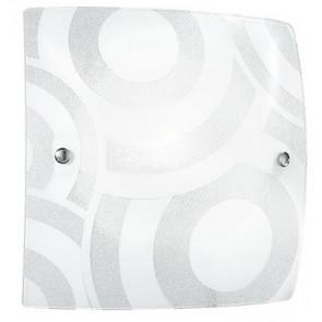 I-MIRO / PL30 - Plafonnier carré en verre blanc avec décoration cercles Lampe moderne E27