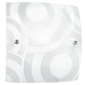 I-MIRO / PL40 - Plafonnier avec cercles blanc carré grain verre décoration intérieur moderne E27