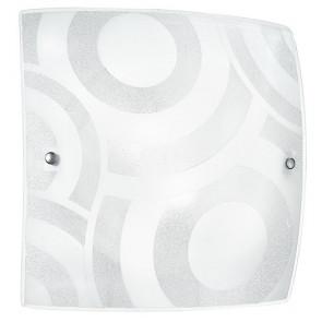 I-MIRO / PL50 - Plafonnier Grit Verre Carré décoration Cercles Blancs Plafond Moderne Mur E27