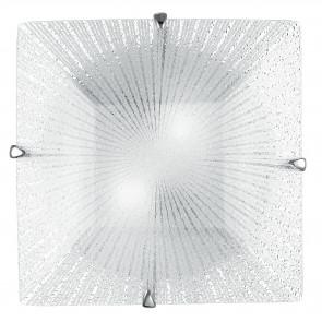 I-ISIDE / PL30 - Plafonnier carré avec décoration Rayons Lampe moderne en verre diamant E27