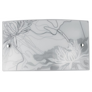 I-MATISSE / AP3520 - Applique murale avec décoration florale grise Applique rectangulaire en verre Led 16 watt Natural Light