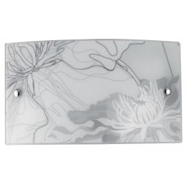 I-MATISSE / AP3520 - Applique murale avec décoration florale grise Applique rectangulaire en verre Led 16 watt Natural Light