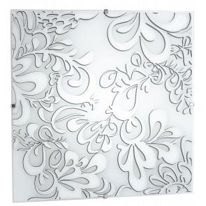 I-KAPPA/Q POISON - Plafoniera Quadrata Moderna Vetro decoro Floreale Soffitto Parete E27