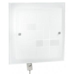 I-MUSA/PL40 - Plafoniera Bianca Vetro Quadrata decoro Quadri Classica Soffitto Parete E27