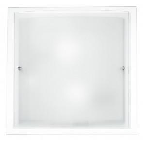 I-061228-2 - Plafonnier carré avec bordure transparente et lampe moderne E27 en verre blanc à double vitrage