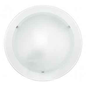 I-061228-7 - Plafonnier rond avec verre blanc à double vitrage et bord transparent Lampe moderne E27
