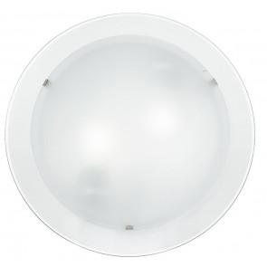 I-061228-8 - Plafoniera Lampada Moderna Tonda Doppio Vetro Satinato Bianco Bordo Trasparente E14