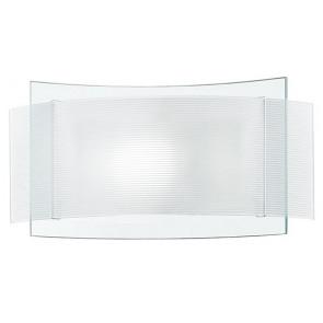 I-RIGHE/AP - Applique Doppio Vetro Trasparente e Bianco Rigato Lampada da Parete Moderna Interno E27