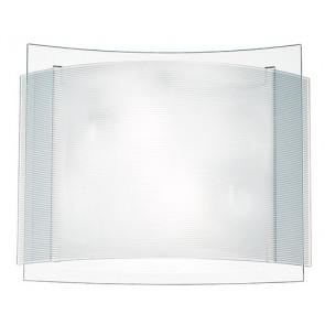I-RIGHE/PL30 - Plafoniera Quadrata Doppio Vetro Bianco Rigato e Trasparente Lampada Moderna E27