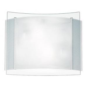 I-RIGHE/PL40 - Plafoniera Moderna Doppio Vetro Trasparente e Bianco Rigato Interno E27