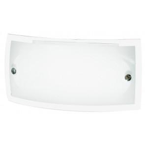 I-180/00812 - Applique Vetro Bianco Lucido Bordo Trasparente Lampada da Parete Moderno E27