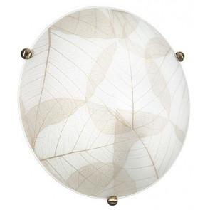 I-EDEN / PL40 - Plafonnier rond décoration en verre Feuilles Beige Classic Lamp Interior E27