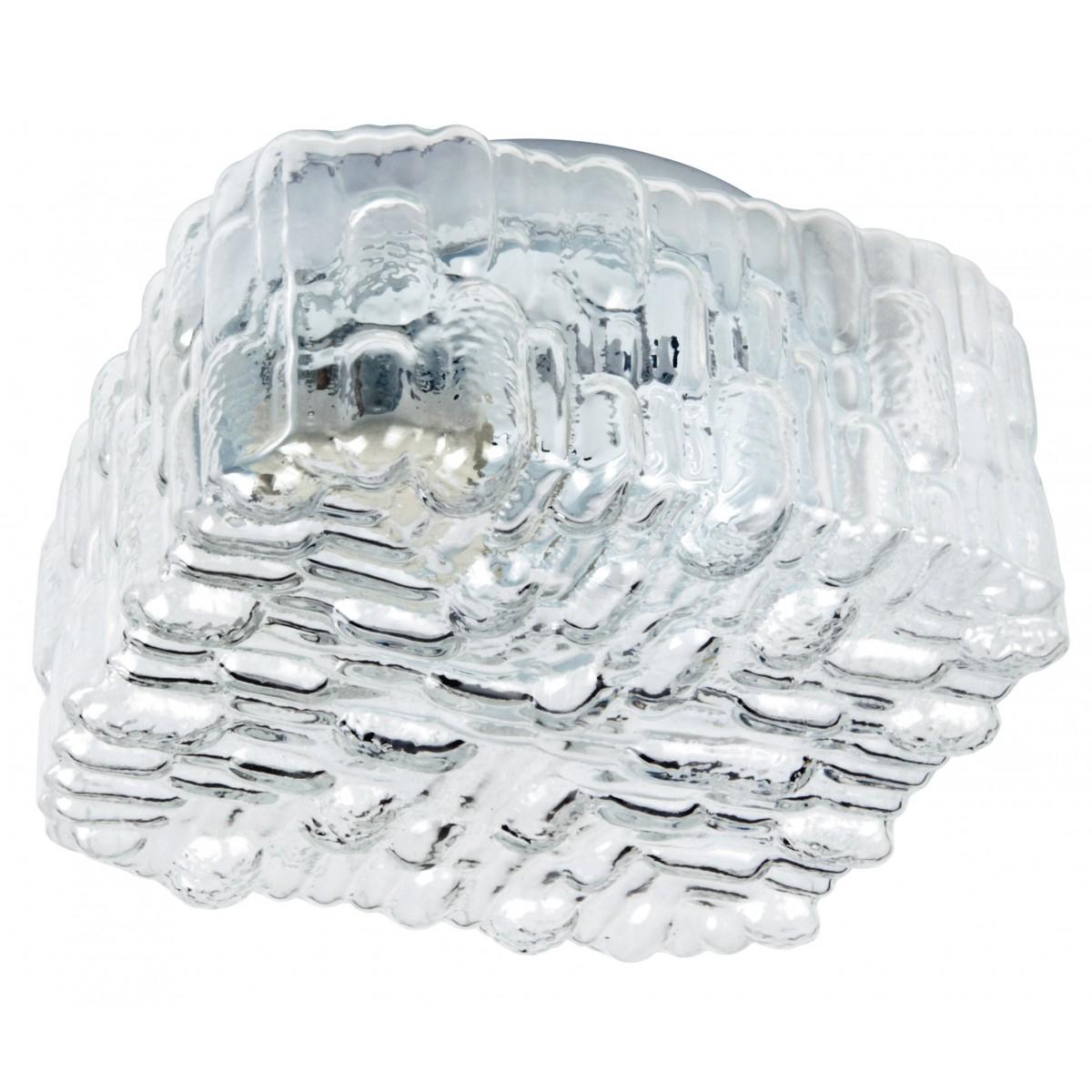 I-GIULIETTA/PL17 - Plafoniera Ghiaccio Cubica Vetro Trasparente Decorato Lampada Moderna E27