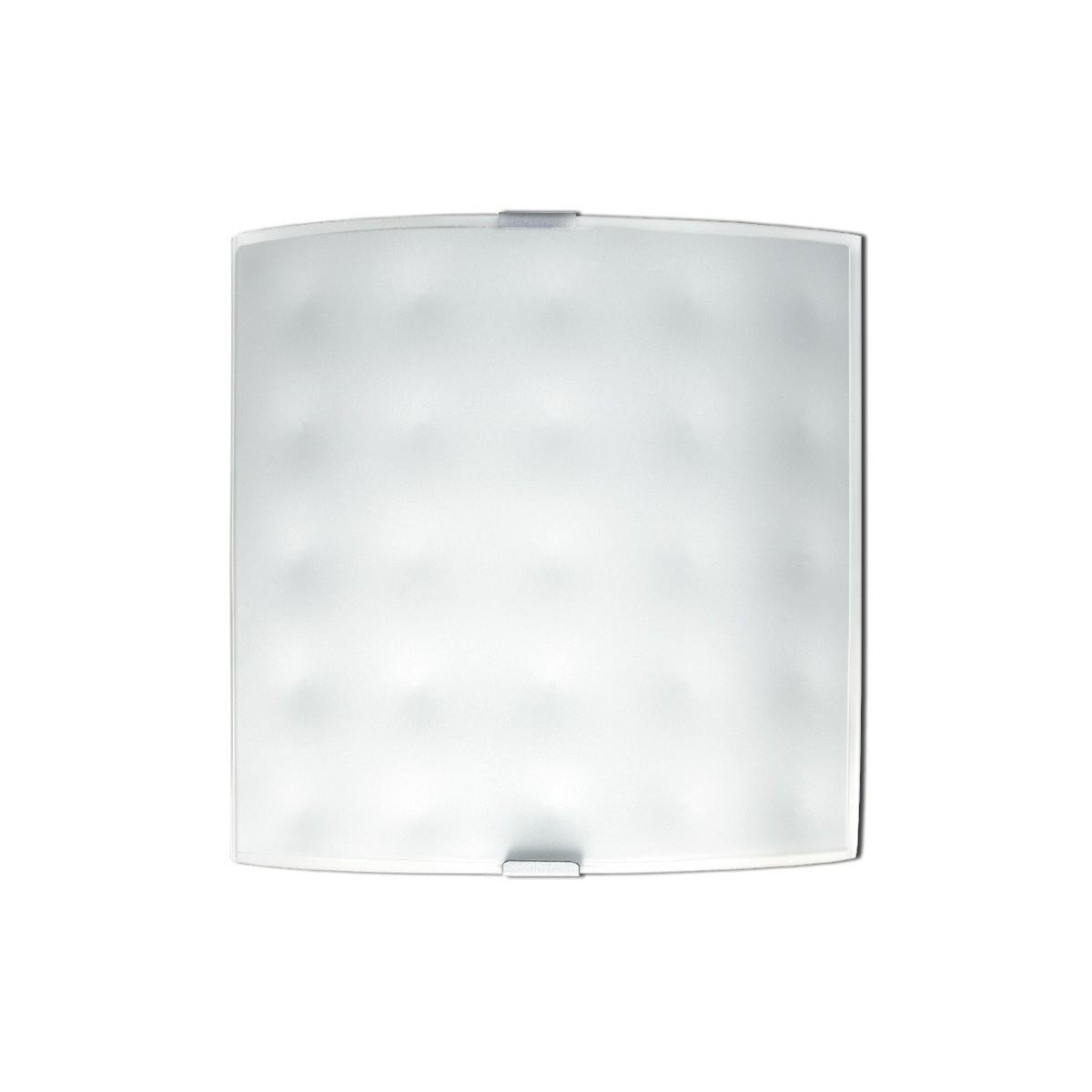 47/00312 - Applique Quadrata Bianca Vetro decoro Moderno Interno E27