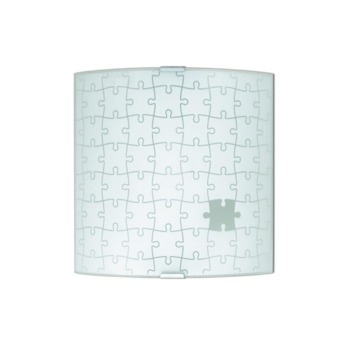 61/00601 - Applique Quadrata Puzzle Vetro Interno Moderno E27