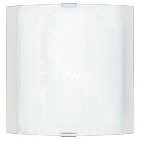 180/01812 - Applique Vetro Fascia Bianca Quadrata Lampada da Parete Moderna E27