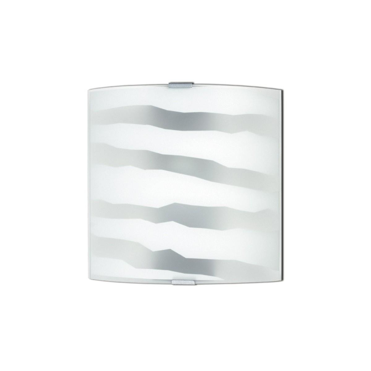 44/01100 - Applique Vetro Bianco decoro Zebrato Cromo Lampada Moderna E27