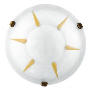 38/02512 - Plafonnier Rond Verre Albâtre Blanc Ambre Rayons Lampe Classique E27