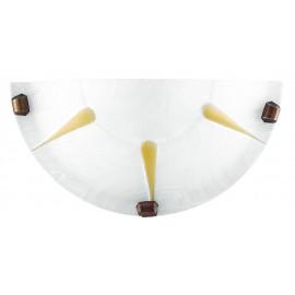 38/02612 - Applique Lunetta Bianca Raggi Ambra Vetro Alabastro Lampada da Parete Classica E27