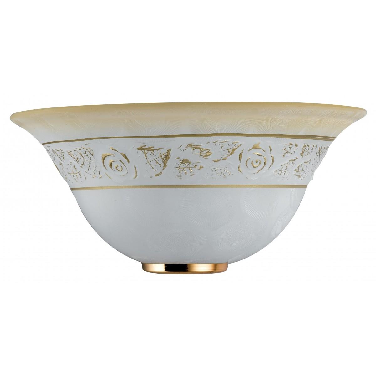 ROSY/APS - Applique Vetro Bianco Sfumata Ambra Greca Floreale Interno Classico E27