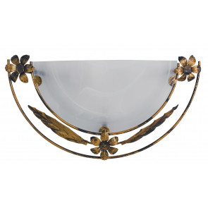 Applique lunette cadre en verre albâtre blanc intérieur classique en métal antique E27