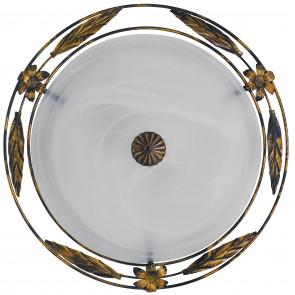 RICCIO / PL40 - Plafonnier Rond Cadre Diffuseur Métal Antique Verre Albâtre Classique Blanc E27