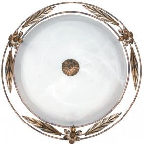 RICCIO / PL50 - Plafonnier rond classique albâtre verre blanc cadre métal antique E27