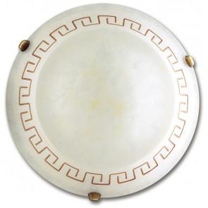 01/00912 - Plafonnier rond en verre grec ambre classique E7