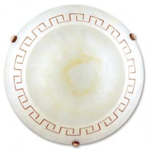 01/01110 - Plafonnier en verre marbré ambre avec décoration ronde grecque, intérieur classique E27
