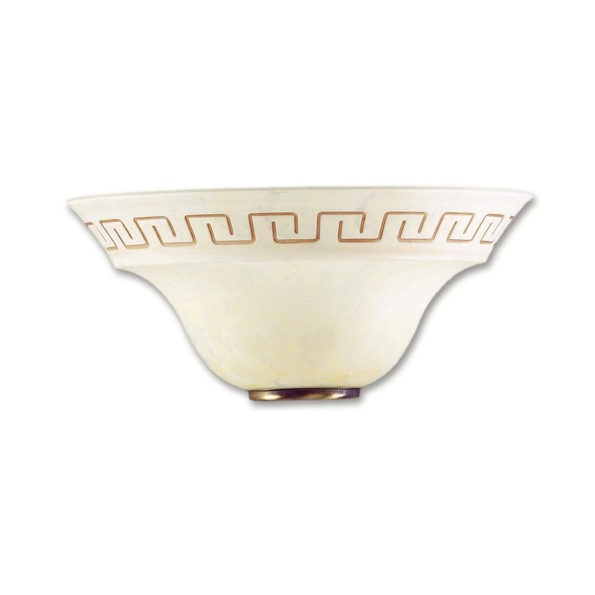 01/01212 - Applique murale classique grecque en verre marbré ambre E27