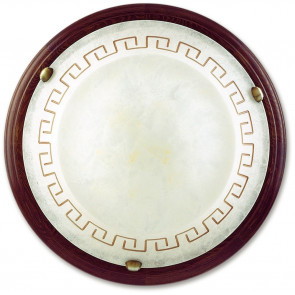 01/01412 - Plafonnier rond avec cadre en bois grec et verre de marbre ambre classique E27
