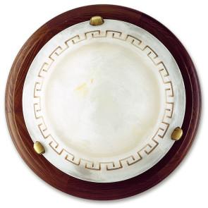 01/01512 - Plafonnier rond grec classique Cadre en bois Amber Marbre Verre Intérieur E27