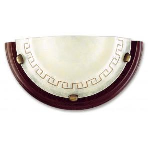 Applique Lunetta Vetro Marmo Ambra Greca Cornice Legno Lampada da Parete Classica E27