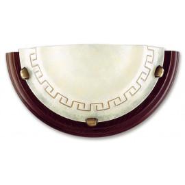 01/01812 - Applique Lunetta Vetro Marmo Ambra Greca Cornice Legno Lampada da Parete Classica E27