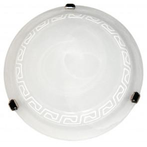 248/00312 - Plafonnier grec blanc Verre rond blanc albâtre Intérieur classique E27