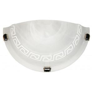 248/00412 - Applique Lunetta Vetro Alabastro Bianco Greca Bianca Classica E27