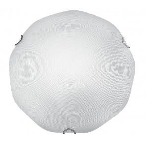 210/03300 - Plafoniera decoro Filigrana Rilievo Vetro Bianco Tonda Moderna E27
