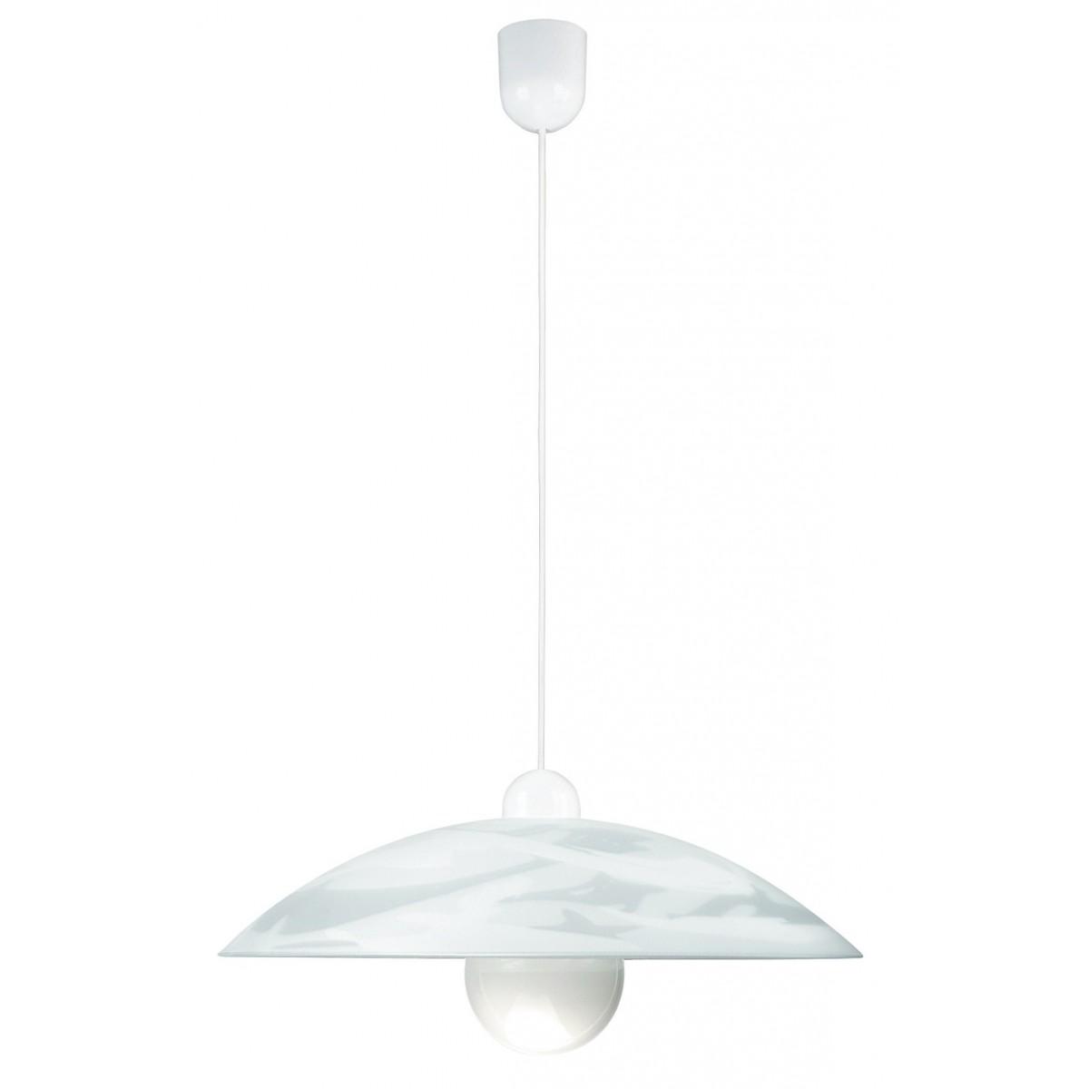 09/04010 - Sospensione diffusore Circolare Vetro decoro Bianco Lampadario Classico E27
