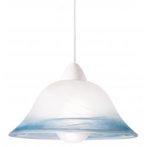 33/06600 - Sospensione paralume Campana Vetro Sfumato Azzurro Classica E27