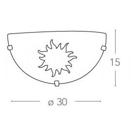 34/01512 - Applique blanche à motif soleil 60 watts E27
