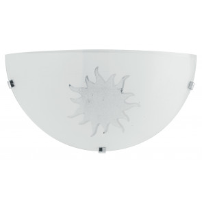34/01512 - Applique bianca con motivo a sole 60 watt E27