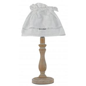 I-LULLABY-LUME - Abat jour Fusto Legno Naturale Paralume Cotone Bianco Classica E27