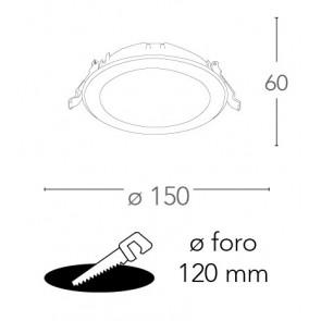 Faretto a Incasso Horus Tondo 15 cm in Termoplastica Bianca Led 15 watt FanEurope