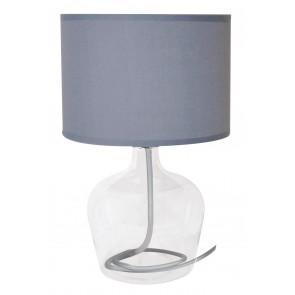 I-HENDRIX-L GRI - Lume paralume Tessuto Grigio fusto Vetro Trasparente Lampada da Tavolo E27