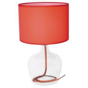 I-HENDRIX-L ROS - Abat jour paralume Tessuto Rosso base Vetro Trasparente Interno Moderno E27